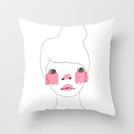Line Drawing of a Girl in Neon  Throw Pillow