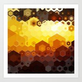 Molten Steel Honeycomb Sunset Art Print