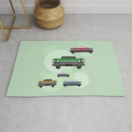 Vintage Route 66 colorful cars Rug