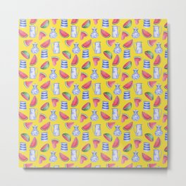 Melons and Jugs Pattern Yellow Metal Print