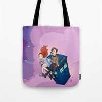 dodgers Tote Bags featuring Jammie Dodgers Doctor Who by Aimee Steinberger
