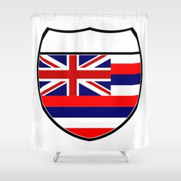 Hawaii Flag In An Interstate Sign Shower Curtain