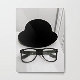 Nerd Glasses and Hat Metal Print