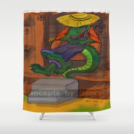 The Cajun Gator (Flat Color Version) by: Henry Wardsworth aka Concepts_By_Henry Shower Curtain