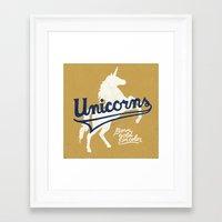 unicorns Framed Art Prints featuring Unicorns by WEAREYAWN