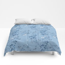 Chinoiserie in China Blue Comforters