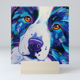 Collie close up - Border Collie Artwork Mini Art Print