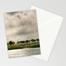 Afternoon Storm on the Coast and Salt Pond landscape by Vilhelm Hammershoi Stationery Cards