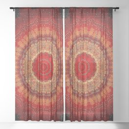Vibrant Red Gold and black Mandala Sheer Curtain