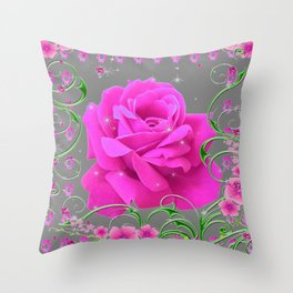 ROMANTIC CERISE PINK ROSE GREY ART RIBBONS Throw Pillow