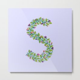 Leafy Letter S Metal Print