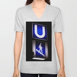 German Underground Metro Sign Unisex V-Neck