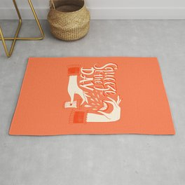 Squeeze The Day Handdrawn Lettering On The Coral Background Rug