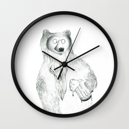 A bear with a beer and a beard Wall Clock