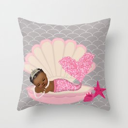 Destiny | Black Baby Shower | African-American Mermaid | Afro Throw Pillow