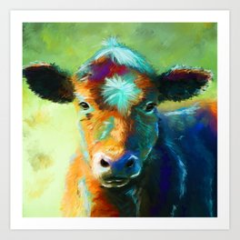Rainbow Calf Abstract Cow painting Art Print