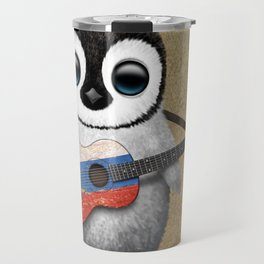 Baby Penguin Playing Slovenian Flag Guitar Travel Mug