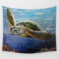 sea turtle Wall Tapestries featuring Sea Turtle by Adamzworld