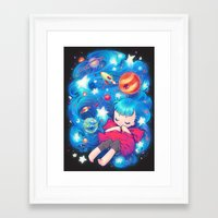 barachan Framed Art Prints featuring space by barachan