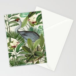 Tropical Heron Bird Rainforest Illustration Stationery Cards
