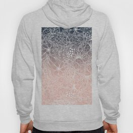 navy blue pastel peach ombre gradient white floral pattern Hoody