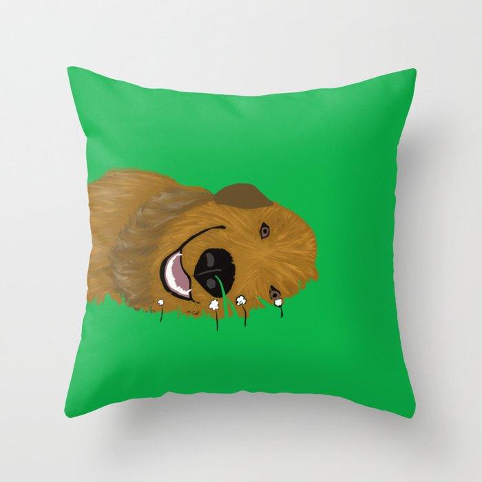 Golden Doodle in Grass Throw Pillow