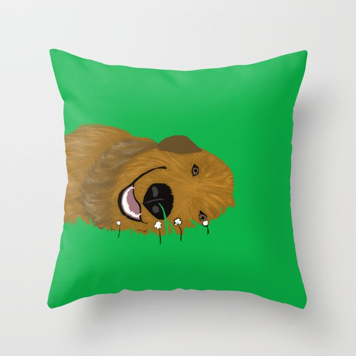 Goldendoodle in Grass Throw Pillow