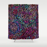 letters Shower Curtains featuring LETTERS by raspaintings