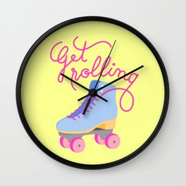 Get Rolling (Yellow Background) Wall Clock