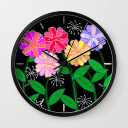 Plasticine Flowers with Dandelion Seed Wall Clock