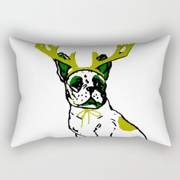 PUG DEER in Green and White Rectangular Pillow