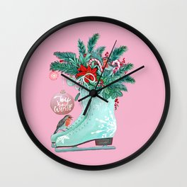 Christmas Ice Skates with Holly, Robins, Poinsettia, Candy Canes and baubles Wall Clock