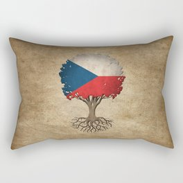 Vintage Tree of Life with Flag of Czech Republic Rectangular Pillow
