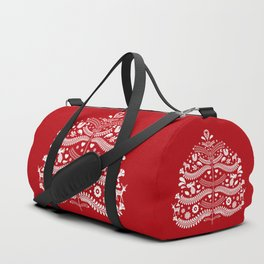 Scandinavian Folk Art Christmas Tree Duffle Bag
