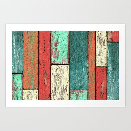 Cubic Wood Art Print