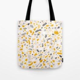 Terrazzo memphis vintage mustard yellow white grey black Tote Bag