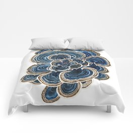 Blue Trametes Mushroom Comforters