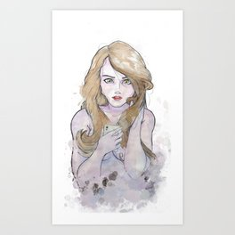 Girl with a phone Art Print