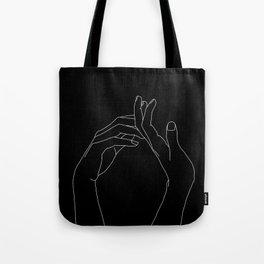 Hands line drawing illustration - Abi black Tote Bag