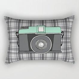 Vintage Camera with Plaid Rectangular Pillow