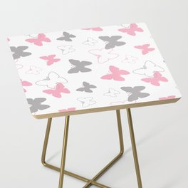 Pink Gray Butterfly Side Table