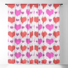 Pretty Pink and Red Painted Love Hearts Sheer Curtain