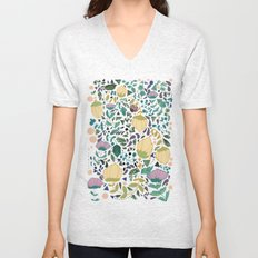 Flower Pattern Unisex V-Neck