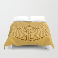 labyrinth Duvet Covers featuring Chartres Labyrinth by tuditees