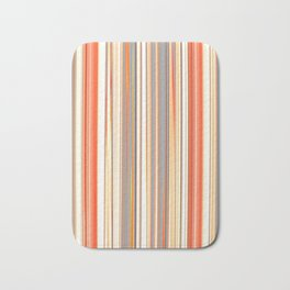 STRATA classic stripes pattern in classic earth tones of tan beige orange cream Bath Mat
