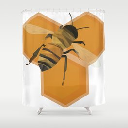 Low Poly Honeybee; Save the Bees Shower Curtain