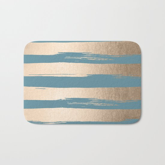 Painted Stripes Gold Tropical Ocean Blue Bath Mat