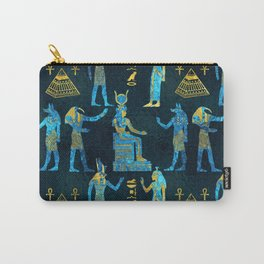 Egyptian  Gold and blue glass pattern Carry-All Pouch
