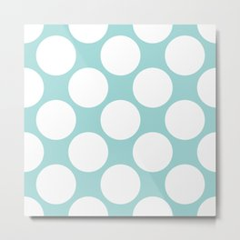 Polka Dots Blue Metal Print