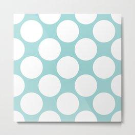 Polka Dots Blue Metal Print